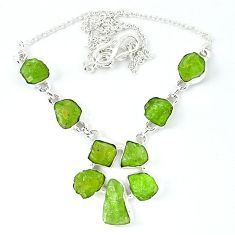Natural green peridot rough fancy 925 sterling silver necklace jewelry k48897