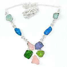 Green chrome diopside rough druzy morganite rough 925 silver necklace k48898