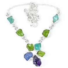 Natural green peridot rough amethyst rough 925 silver necklace jewelry k48899