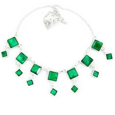 Natural green emerald 925 sterling silver necklace jewelry k49793