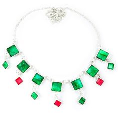 Natural green emerald ruby 925 sterling silver necklace jewelry k49796