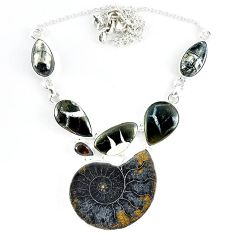 925 silver natural brown ammonite fossil orthoceras smoky topaz necklace k50358