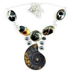 Natural brown ammonite fossil gun metal black onyx 925 silver necklace k50359