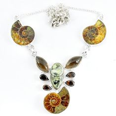 Natural brown ammonite fossil orthoceras smoky topaz 925 silver necklace k50360