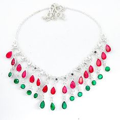 Natural green emerald red ruby 925 sterling silver necklace jewelry k50379
