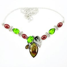 Natural multi color ammolite (canadian) peridot 925 silver necklace k57067