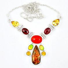 Natural multi color ammolite (canadian) onyx citrine 925 silver necklace k57068