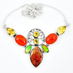 925 silver natural multi color ammolite (canadian) onyx citrine necklace k57069