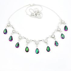 Multi color rainbow topaz 925 sterling silver necklace jewelry k57070