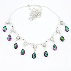 Multi color rainbow topaz 925 sterling silver necklace jewelry k57071