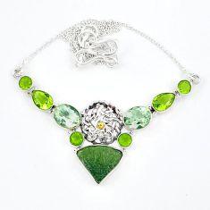 Natural green moldavite (genuine czech) peridot 925 silver necklace k57072