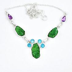 Natural green moldavite (genuine czech) topaz 925 silver necklace k57073