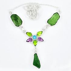 Natural green moldavite (genuine czech) peridot 925 silver necklace k57074