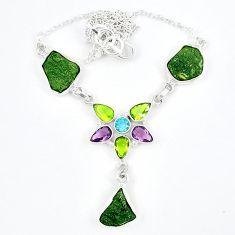 925 silver natural green moldavite (genuine czech) peridot necklace k57075