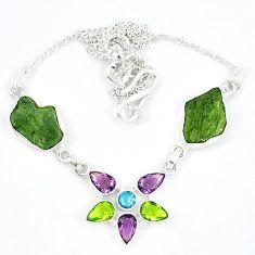Natural green moldavite (genuine czech) amethyst 925 silver necklace k57076