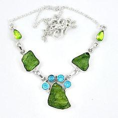 Natural green moldavite (genuine czech) peridot 925 silver necklace k57077