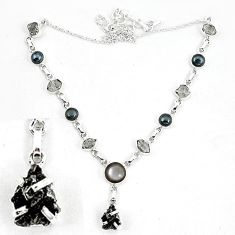 Natural black hematite herkimer diamond 925 silver necklace jewelry k60834