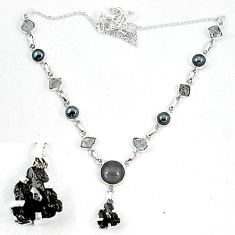925 silver natural black hematite herkimer diamond necklace jewelry k60836