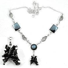 Natural black hematite herkimer diamond 925 silver necklace jewelry k60837
