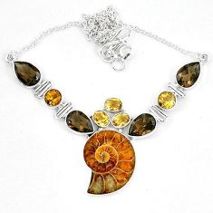 Natural brown ammonite fossil smoky topaz 925 silver necklace jewelry k60838