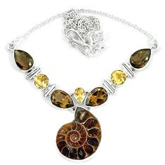Natural brown ammonite fossil smoky topaz 925 silver necklace jewelry k60839