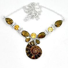 925 sterling silver natural brown ammonite fossil smoky topaz necklace k60840