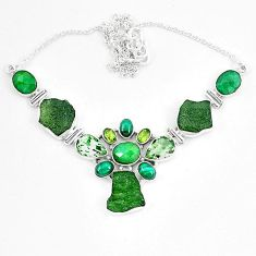 Moldavite (genuine czech) malachite (pilot's stone) 925 silver necklace k60863
