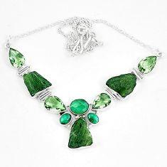 925 silver moldavite (genuine czech) malachite (pilot's stone) necklace k60864