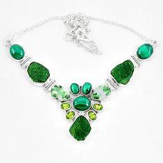 Moldavite (genuine czech) malachite (pilot's stone) 925 silver necklace k60865