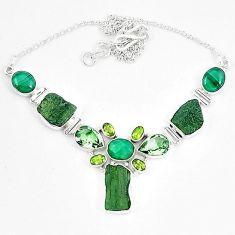 Moldavite (genuine czech) malachite (pilot's stone) 925 silver necklace k60866