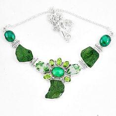 Moldavite (genuine czech) malachite (pilot's stone) 925 silver necklace k60867
