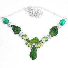 925 silver moldavite (genuine czech) malachite (pilot's stone) necklace k60868