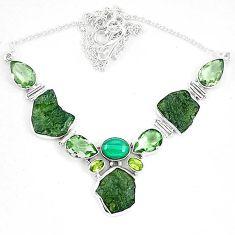 Moldavite (genuine czech) malachite (pilot's stone) 925 silver necklace k60869