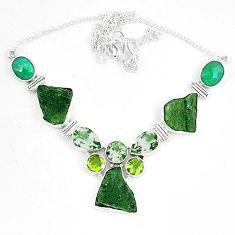 Natural green moldavite (genuine czech) peridot 925 silver necklace k60870