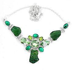 Moldavite (genuine czech) malachite (pilot's stone) 925 silver necklace k60871