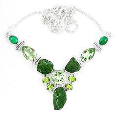 Moldavite (genuine czech) malachite (pilot's stone) 925 silver necklace k60873