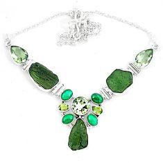 Moldavite (genuine czech) malachite (pilot's stone) 925 silver necklace k60874