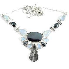 Natural grey meteorite hematite 925 sterling silver necklace jewelry k61895