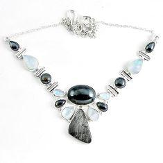 Natural grey meteorite hematite 925 sterling silver necklace jewelry k61896