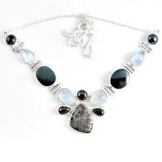 Natural grey meteorite hematite 925 sterling silver necklace jewelry k61897