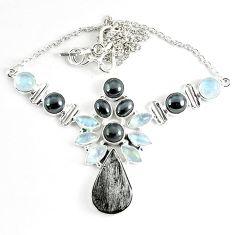 925 sterling silver natural grey meteorite hematite necklace jewelry k61898