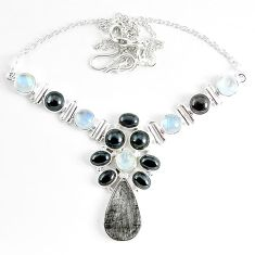 Natural grey meteorite hematite 925 sterling silver necklace jewelry k61899