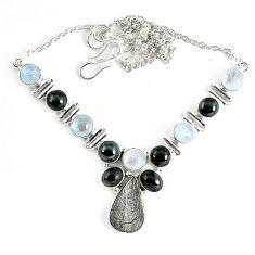 Natural grey meteorite hematite 925 sterling silver necklace jewelry k61900