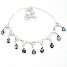 Multi color rainbow topaz pearl 925 sterling silver necklace k62315