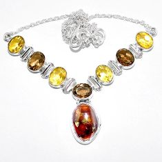 Natural mexican fire agate citrine 925 sterling silver necklace k74732