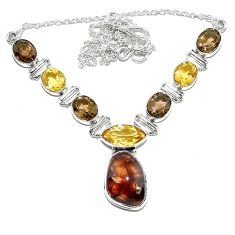 Natural multi color mexican fire agate citrine 925 silver necklace k74734