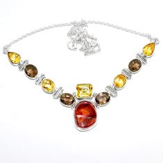 Natural multi color mexican fire agate citrine 925 silver necklace k74740