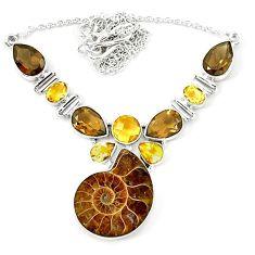 Natural brown ammonite fossil smoky topaz citrine 925 silver necklace k75481