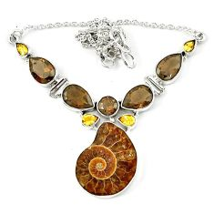 Natural brown ammonite fossil smoky topaz 925 silver necklace jewelry k75482