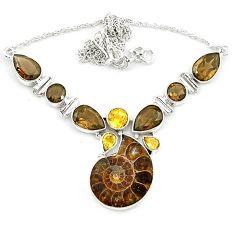 925 silver natural brown ammonite fossil smoky topaz citrine necklace k75483